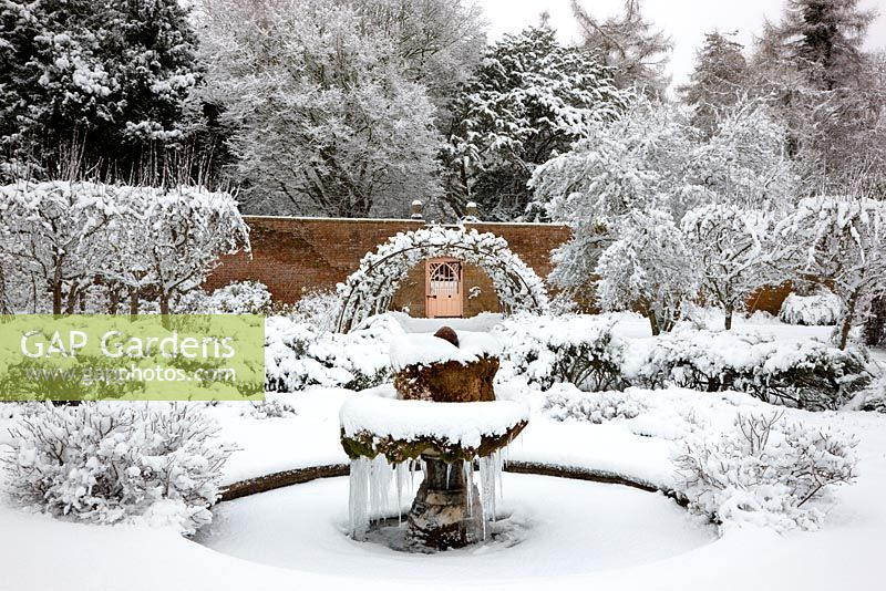 The Walled Garden in snow, Highgrove Garden, January 2010.