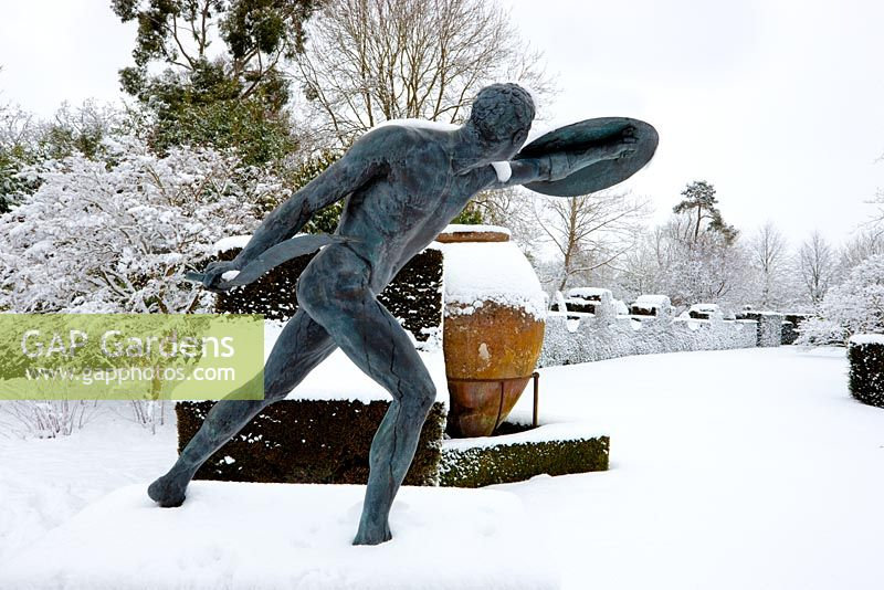 The Borghese Gladiator in snow, Highgrove Garden, January 2010.