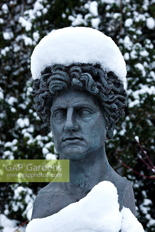 A bust of Leon Krier in snow, Highgrove Garden, January 2010.