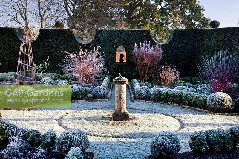 Sundial Garden, with frost, December 2008.