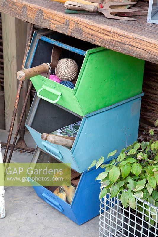 Old drawers used for storage in potting shed