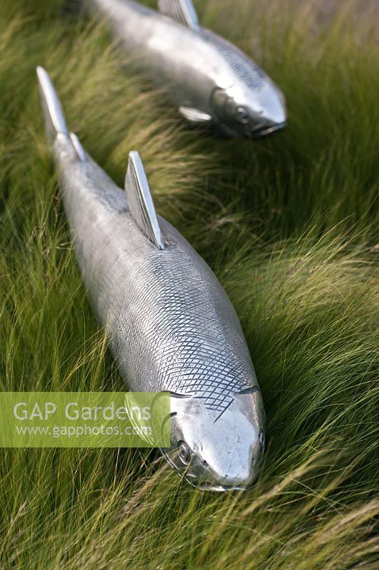 Gap gardens silver fish garden sculpture at rhs chelsea for Fish garden statue
