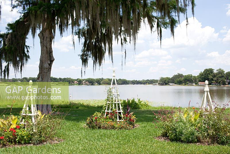 A Quercus virginiana - Live Oak frames white wooden obelisks and perennials on the edge of picturesque Lake Osce­ola - Albin Polasek Museum