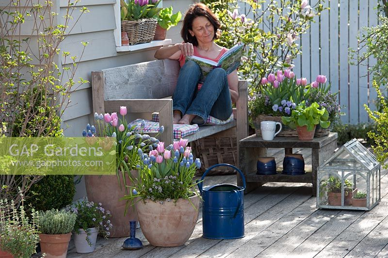 Woman relaxing on bench surrounded by containers of Muscari 'Ocean Magic', 'Magic Mix', Viola, Thymus and pink tulipa