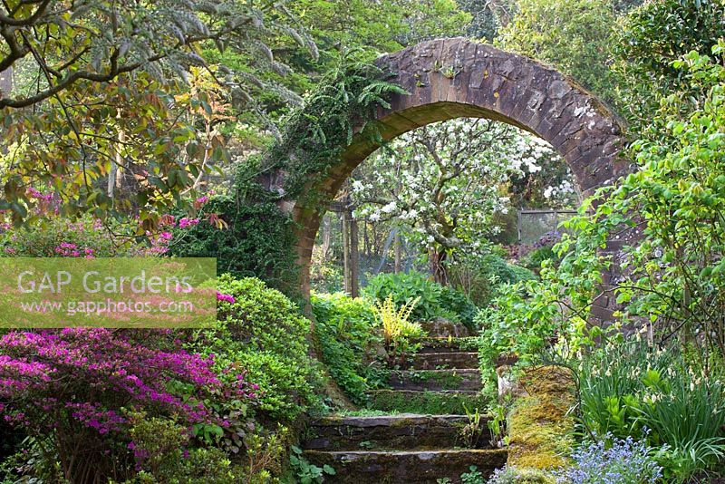 GAP Gardens - Steps and circular stone arch leading from the main ...