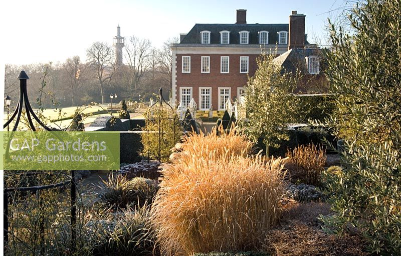 Formal Garden In Winter With Sedum Calamagrostis Acutiflora Buxus Winfield House