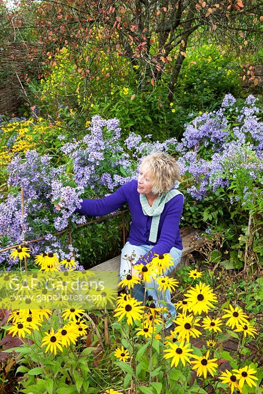 Carol Klein sitting amongst Aster 'Little Carlow' and Rudbeckia fulgida var. deamii AGM