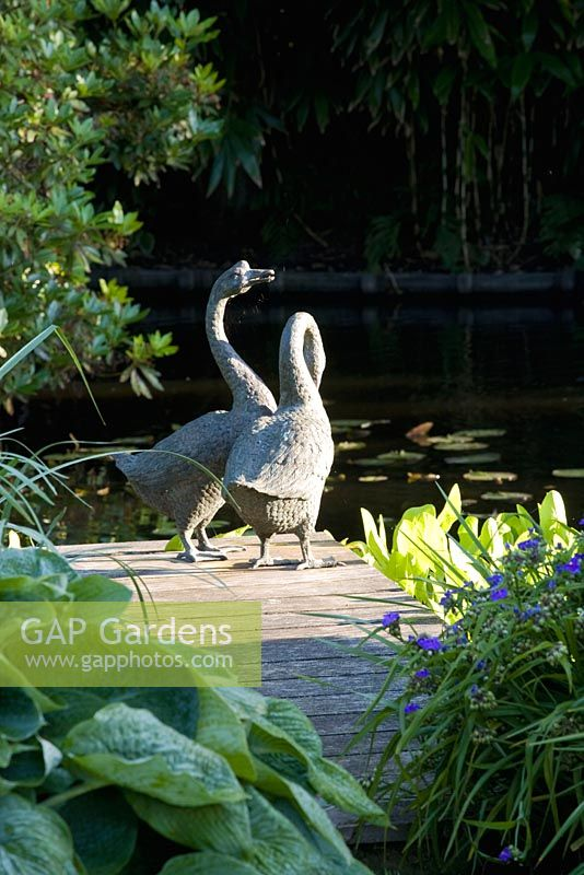 Gap gardens geese ornaments on wooden decking for Garden decking ornaments
