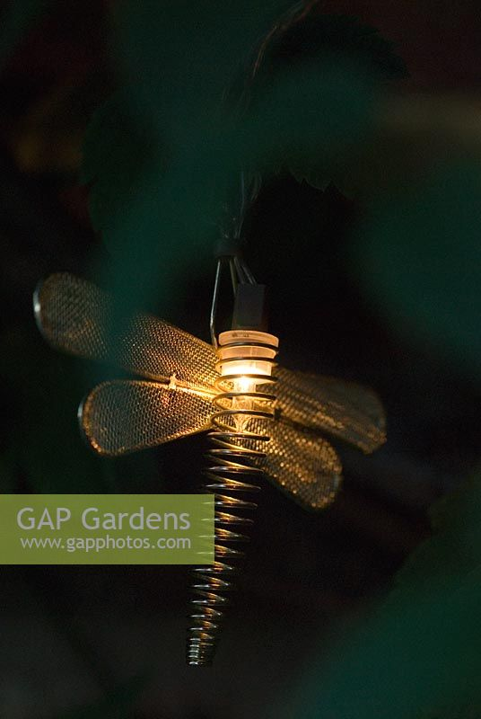 Garden fairy lights in the form of Dragonflies