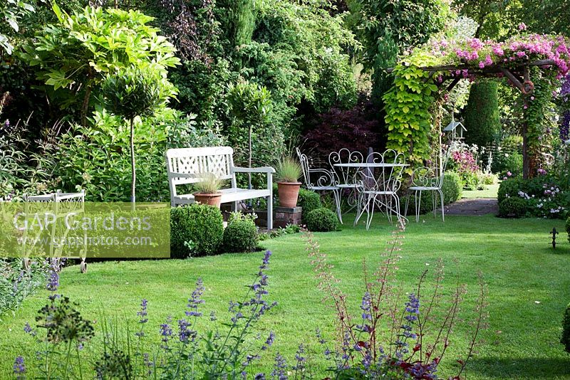 GAP Gardens Small cottage garden with lawn Buxus edged