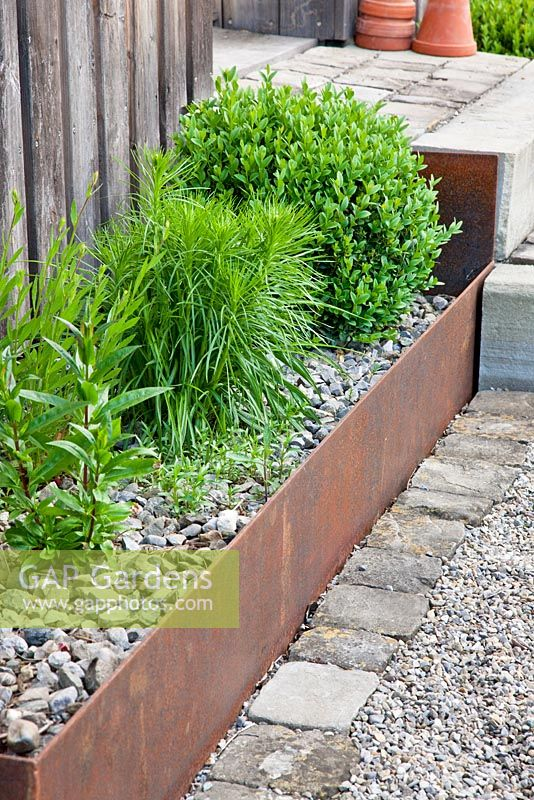 Planting in corten steel troughs mulched with gravel, Buxus, Liatris and Penstemon