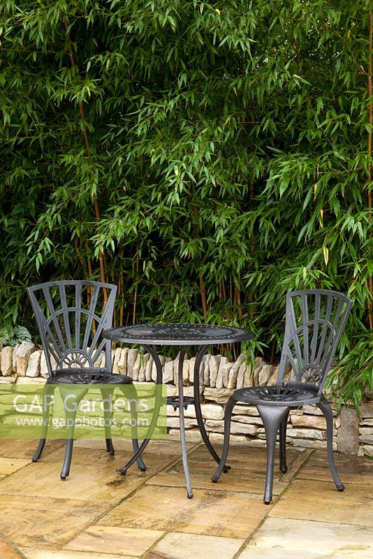 Shady corner of garden with bistro table and chairs. Planting in raised bed of Phyllostachys aureosulcata f. spectabilis