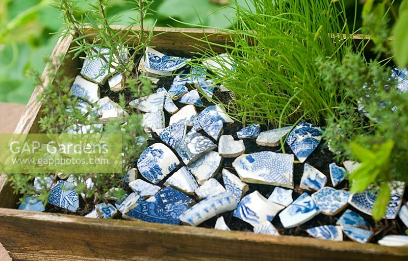 Herb box with blue china decorative mulch