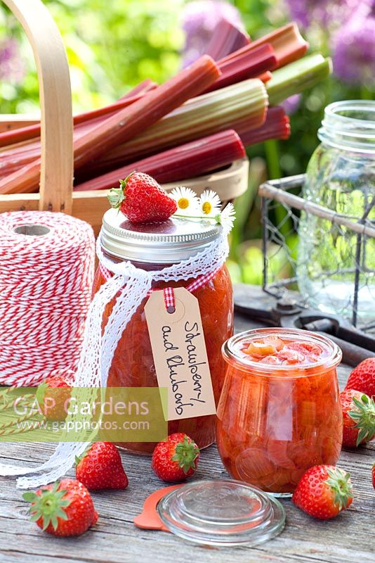Home made Strawberry and Rhubarb preserves