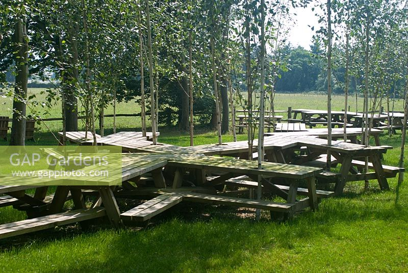Picnic tables at Goodwood Sculpture Park
