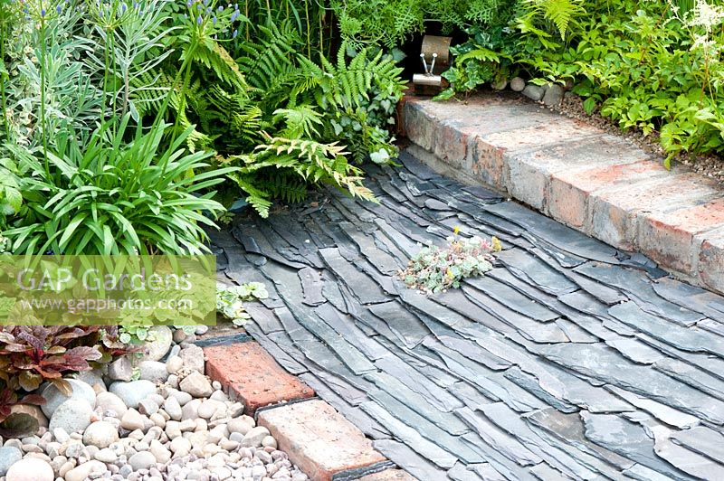 Gap Gardens Path Made Of Assorted Stone And Waste