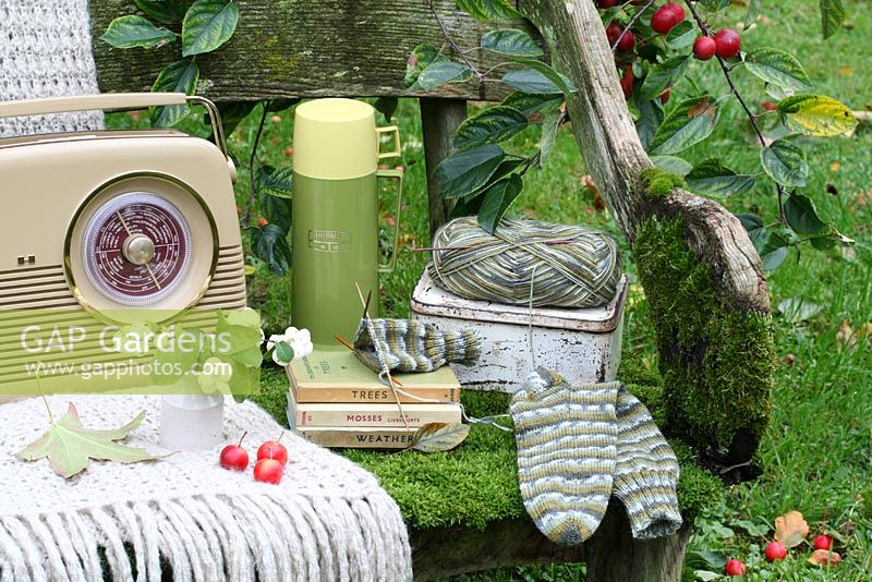 A rustic, moss covered bench with thermos flask, lunchbox, woollen throw, sock knitting, vase of snowberries, Bush radio and Observer books