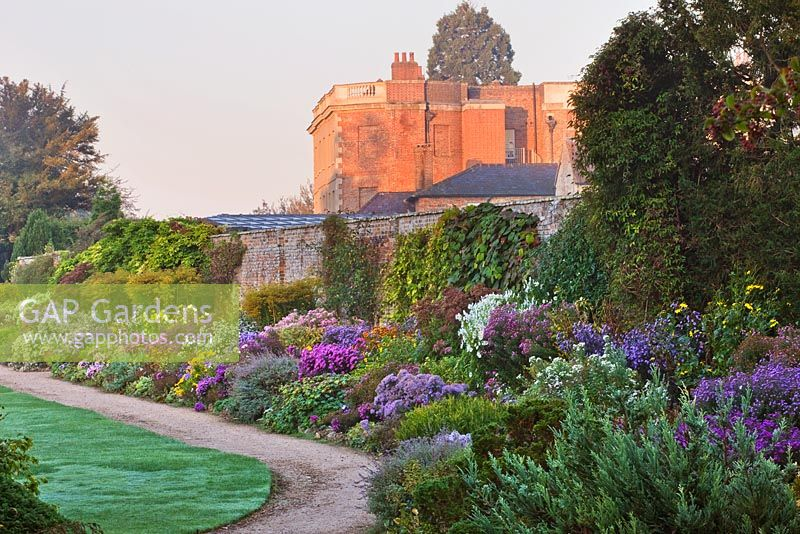 View of the long border at dawn in autumn. Waterperry Gardens, Oxfordshire