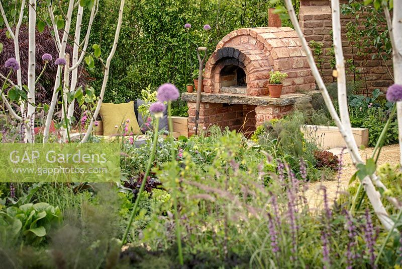 Sunken seating area with brick pizza oven, Betula pendula jacquemontii and Allium Purple Sensation, 'A Fruity Story', show garden, RHS Malvern Spring Festival 2014