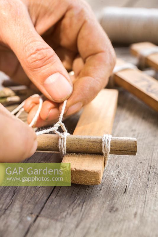 Using small blocks of wood, small parts of a garden cane and string to create trendy plant labels.