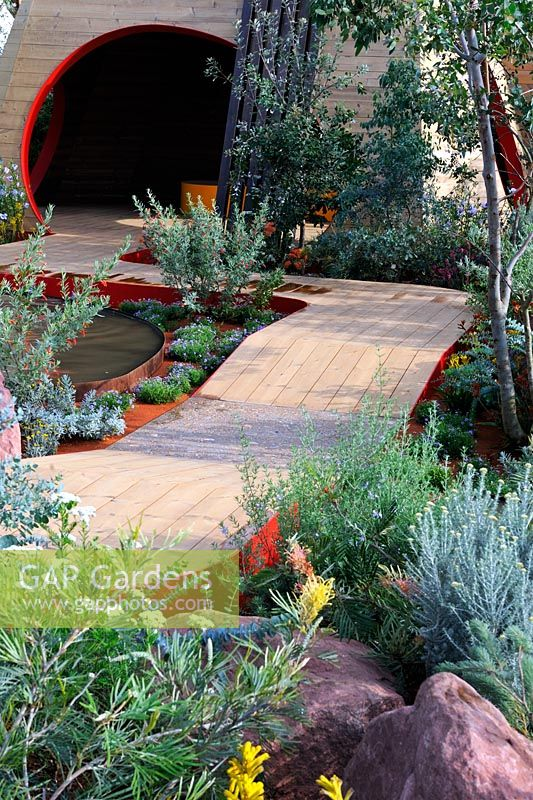 Description: Essence of Australia. Wooden pavillion and timber path.