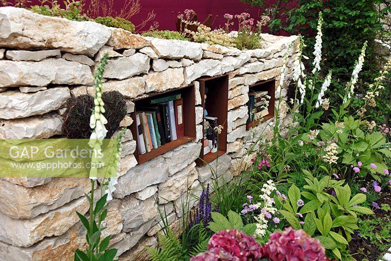 Dry Stone Wall With Bookshelf