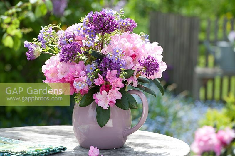 Pink and purple display with Rhododendron, Allium and Polemonium