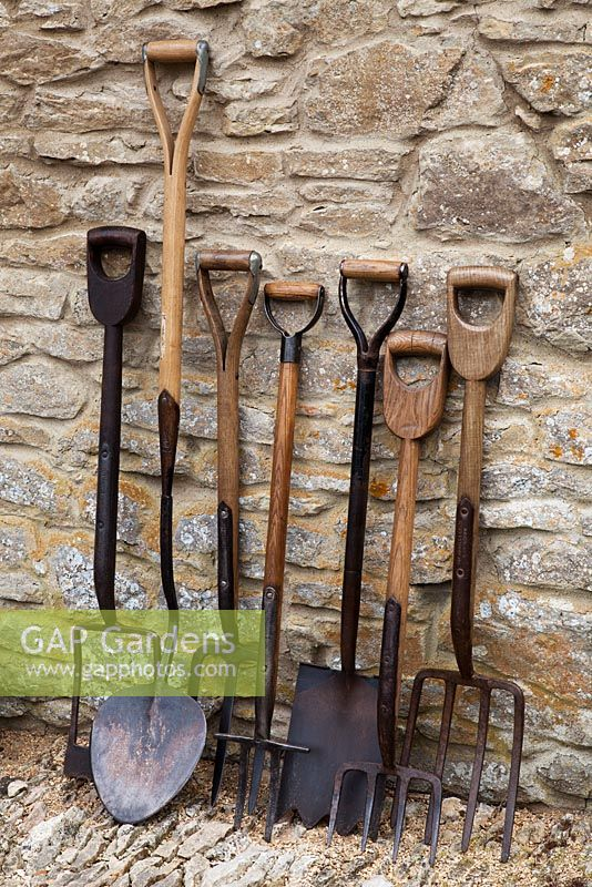 Genial Collection Of Antique Gardening Tools: From Left, Clay Spade, Turf Lifting  Spade,