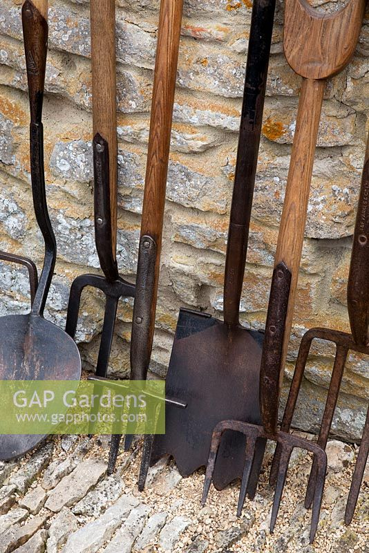 Collection Of Antique Gardening Tools: From Left, Clay Spade, Turf Lifting  Spade,