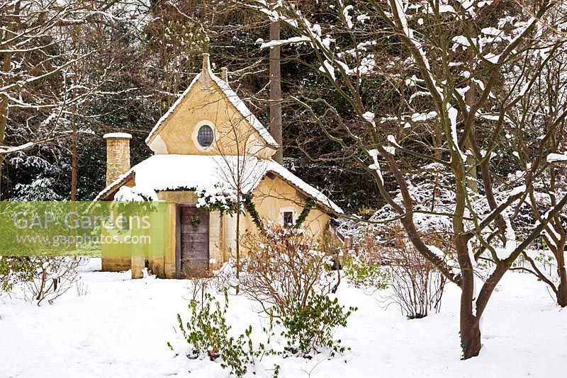 The Sanctuary covered in snow. Highgrove Garden, January 2013. It was built in 1999 to mark the Millennium and is a place of contemplation. Devised by Professor Keith Critchlow of the Prince's school of Tradtional Arts and Crafts and created from a design by Charles Morris. It is made entirely of natural materials.