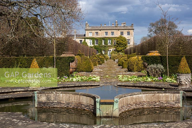 Highgrove House and Garden in Spring, April 2013. The Lily Pool and Thyme Walk.