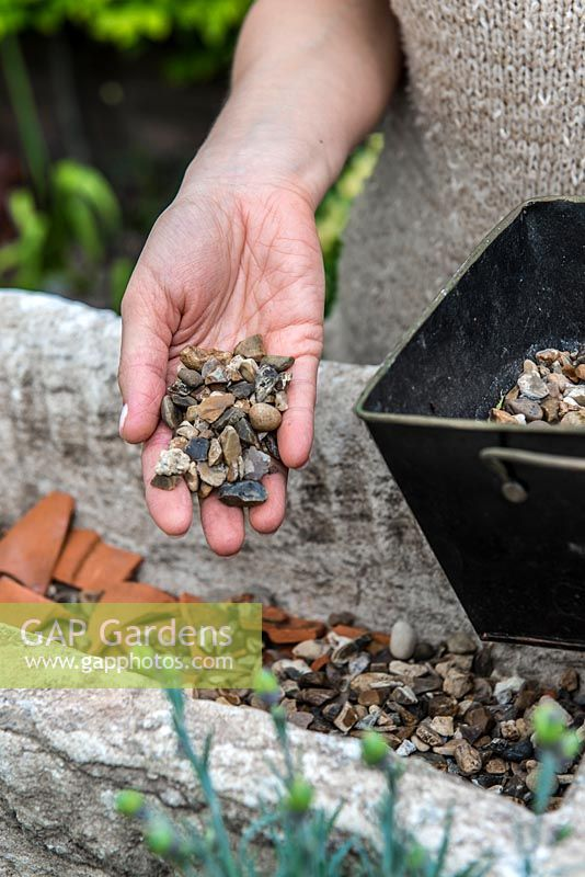 Practical step-by-step guide to planting a stone alpine trough with alpine plants. Alpine plants need good drainage, so cover the drainage holes first with crocks - to prevent them becoming blocked, and then cover with gravel to a depth of 2-3cm.