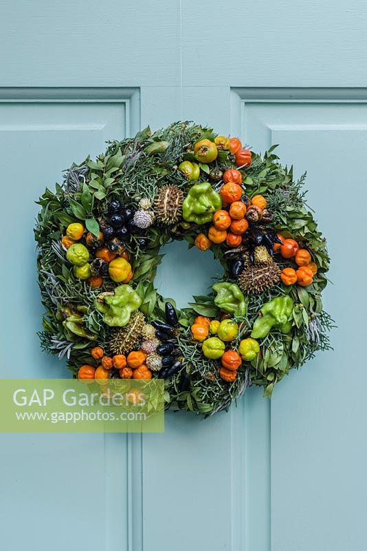 GAP Gardens - Festive wreath on blue front door. Made of everlasting ...