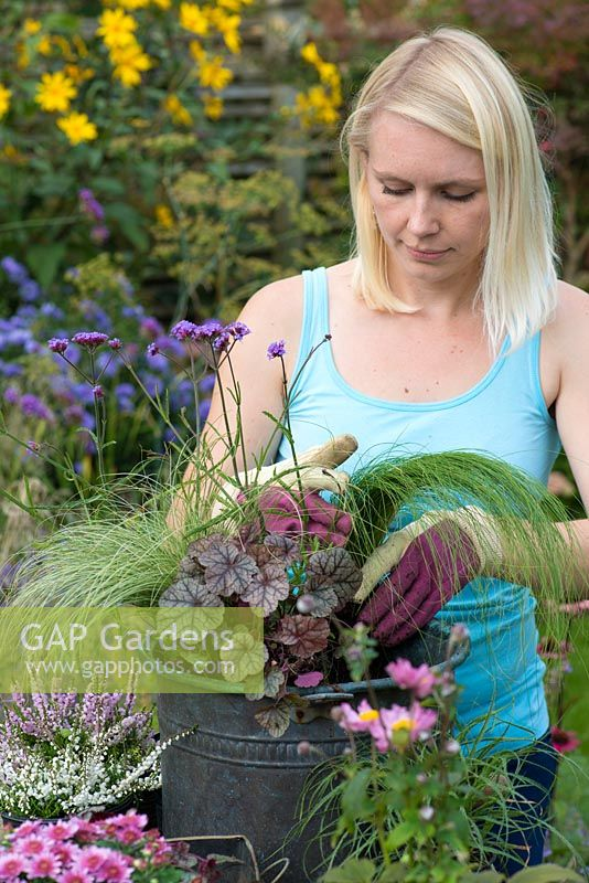 Planting a salvaged pot step by step. Put the shorter stipa tenuissima grasses towards the edge of the container.