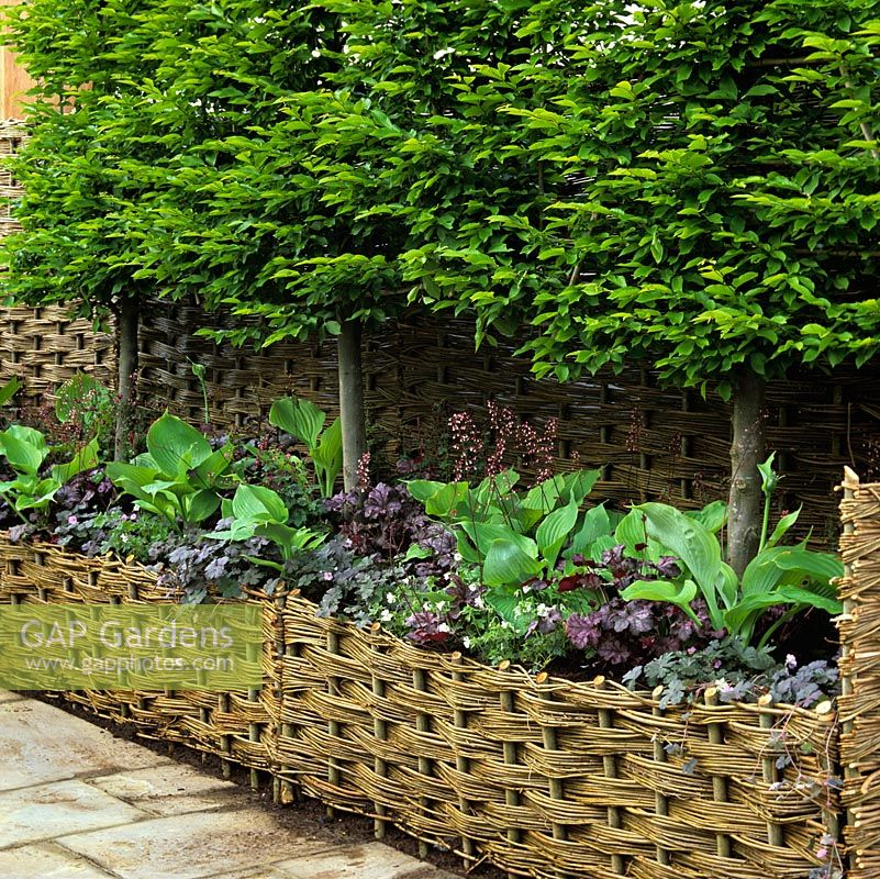 Woven willow panels create privacy and a pleasing background as well as a raised bed filled with small trees, hostas, hardy geranium and heuchera.