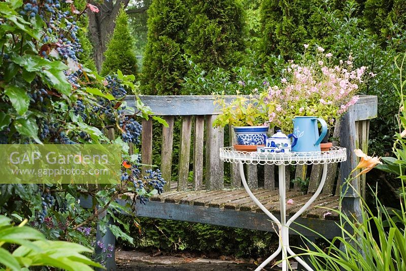 Gap Gardens Old S Shaped Blue Wooden Bench And White Metal Bistro