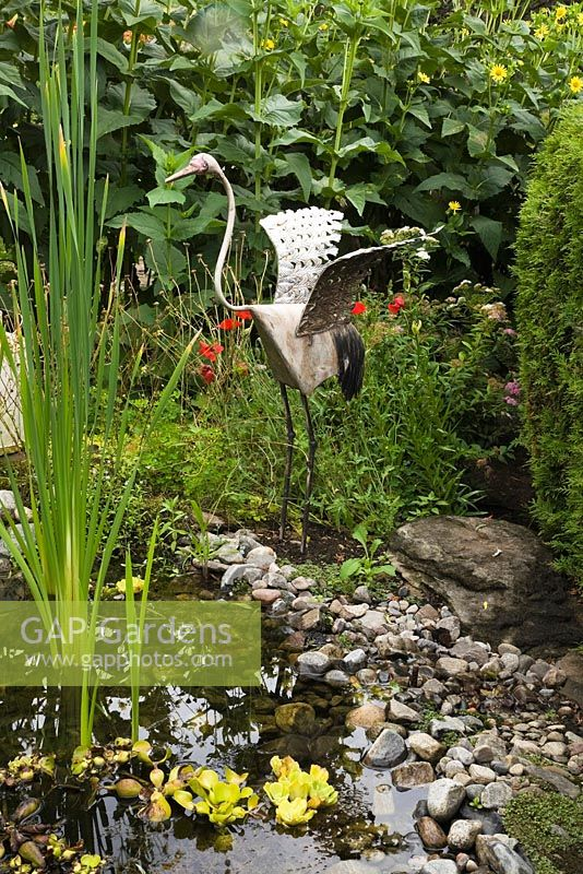 Metal Bird Sculpture On The Edge Of A Pond With Typha Latifolia   Common  Cattails In