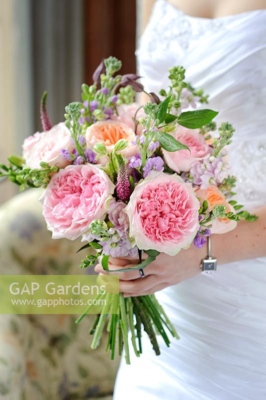 GAP Gardens - Pink and peach roses in a wedding bouquet. Cut flower ...