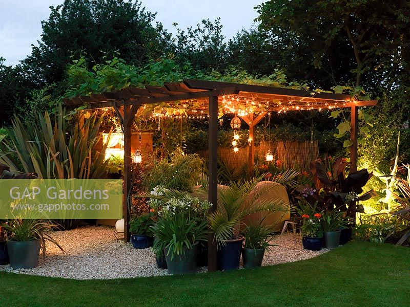 Gap Gardens Night View Of Pergola Seating Area Flanked