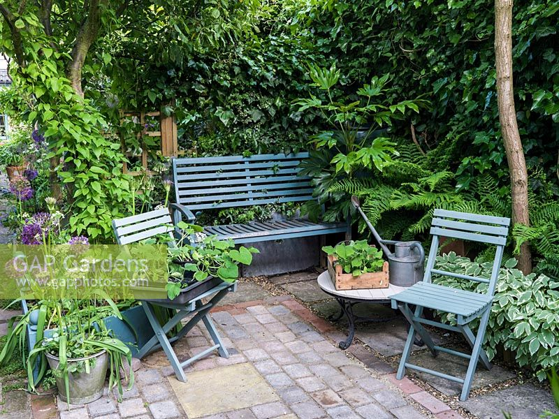 Gap gardens small shady courtyard with built in bench for Small shady courtyard ideas