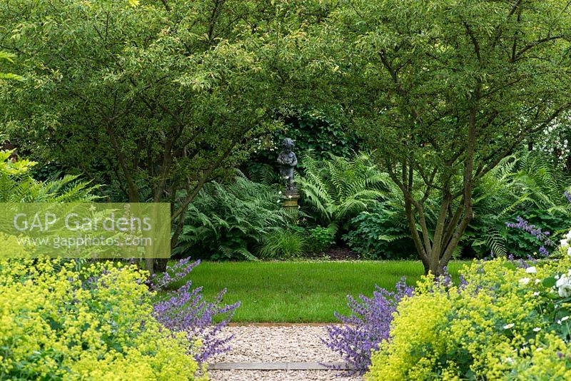 A gravel path lined by Alchemilla mollis and Nepeta 'Six Hills Giant' beneath a wooden pergola. At the far end Malus toringo var. sargentii trees lead to a shady fern border with statue as focal point.