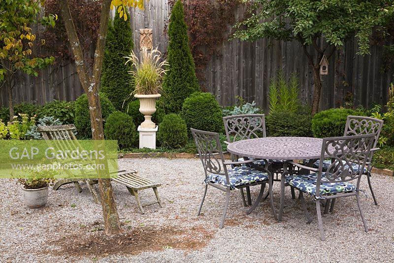 Gap Gardens Gravel Stone Patio With Old Teak Wood Transat Lounge