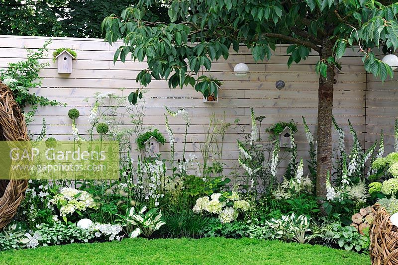 Soft white planting along timber wall. Bird nests, bee station and seed feeders - Living Landscapes 'City Twitchers' garden, RHS Hampton Court Flower Show 2015