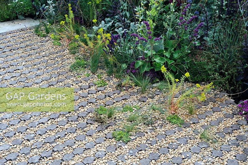 Garden paving of cast stone insets filled with gravel - RHS Hampton Court Palace Flower show 2015