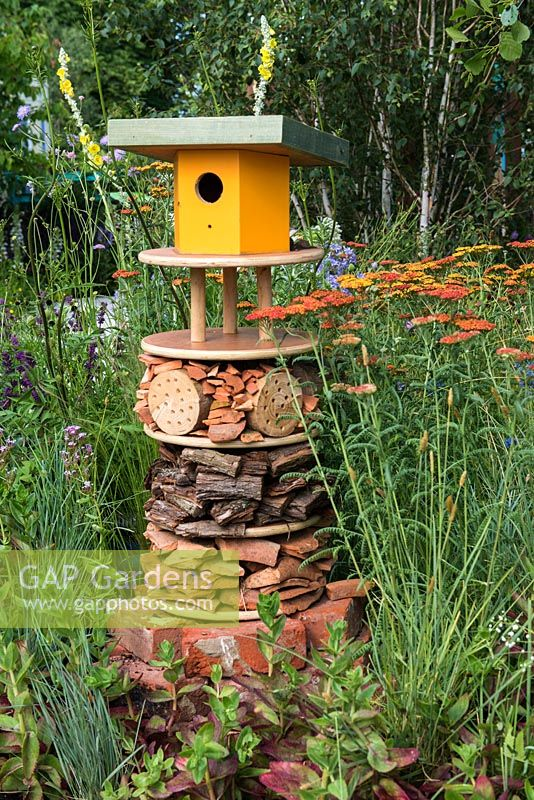 Insect house and bird box. RHS Community Street. RHS Hampton Court Flower Show, 2015.