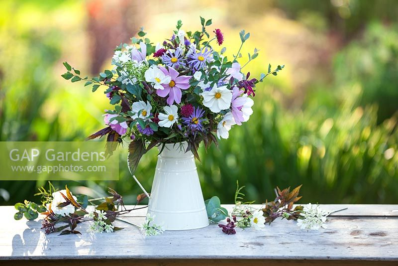 Gap gardens a bunch of cut garden flowers in a white jug a bunch of cut garden flowers in a white jug september mightylinksfo
