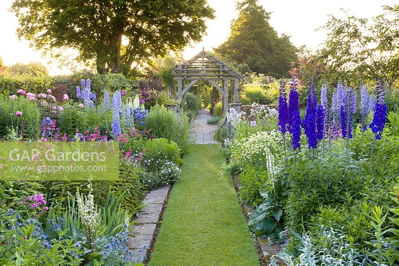Early morning in the Sundial Garden at Wollerton Old Hall Garden, Wollerton, Shropshire - featuring David Austin roses, Stachys, Delphiniums, Eryngiums, Phlox paniculata, Salvia microphylla and Centranthus ruber, among a wide range of other herbaceous plants.