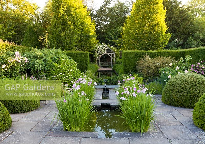 The Lower Rill Garden at Wollerton Old Hall Garden, Shropshire, planting includes Iris ensata, Hydrangeas, Geraniums, and Salvias