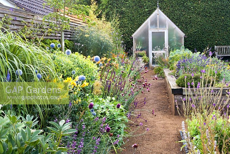 Gap gardens a path leads to a greenhouse through a double border a path leads to a greenhouse through a double border planted with late summer flowering perennials mightylinksfo