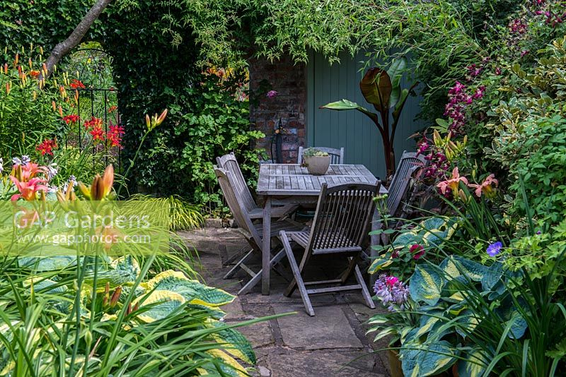 A small secluded seating area with garden furniture surrounded by lush dense borders planted with Hostas, Hakonechloa grasses, daylilies, Lilium martagon with Clematis Etoile Violette - right and a banana plant in a container at the far end.